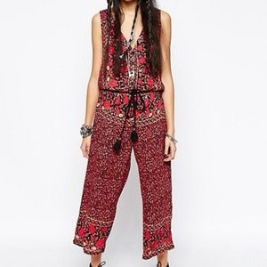 Free People women S cropped jumpsuit floral print